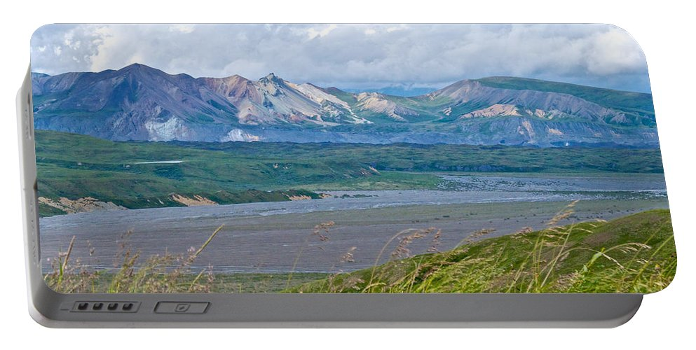 Glaciers And Mountains From Eielson Visitor's Center Portable Battery Charger featuring the photograph Glaciers And Mountains From Eielson Visitor's Center In Denali Np-ak by Ruth Hager