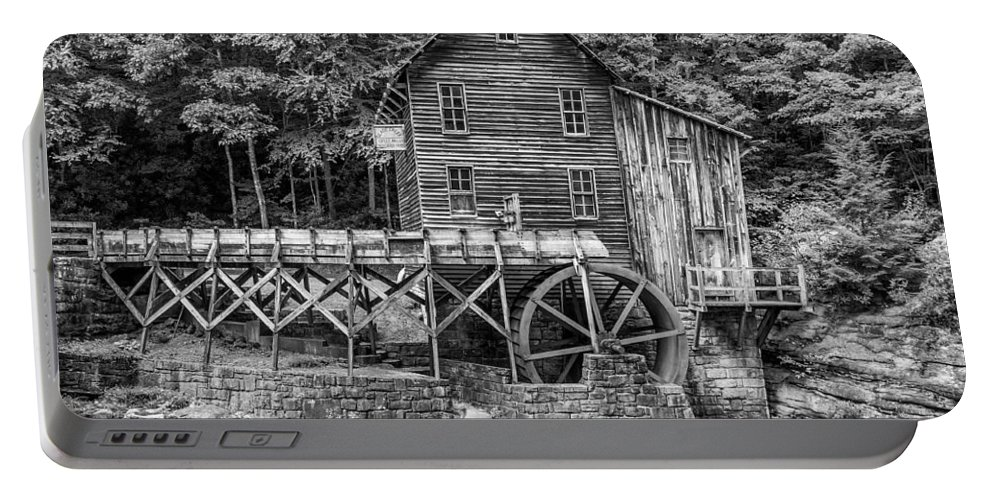 Glade Creek Portable Battery Charger featuring the photograph Glade Creek Grist Mill Bw by Steve Harrington