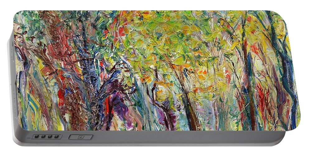 Glade Portable Battery Charger featuring the painting Glade by Regina Valluzzi