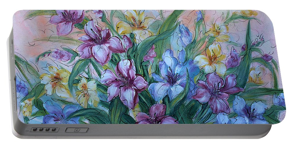 Gladiolus Portable Battery Charger featuring the painting Gladiolus by Natalie Holland