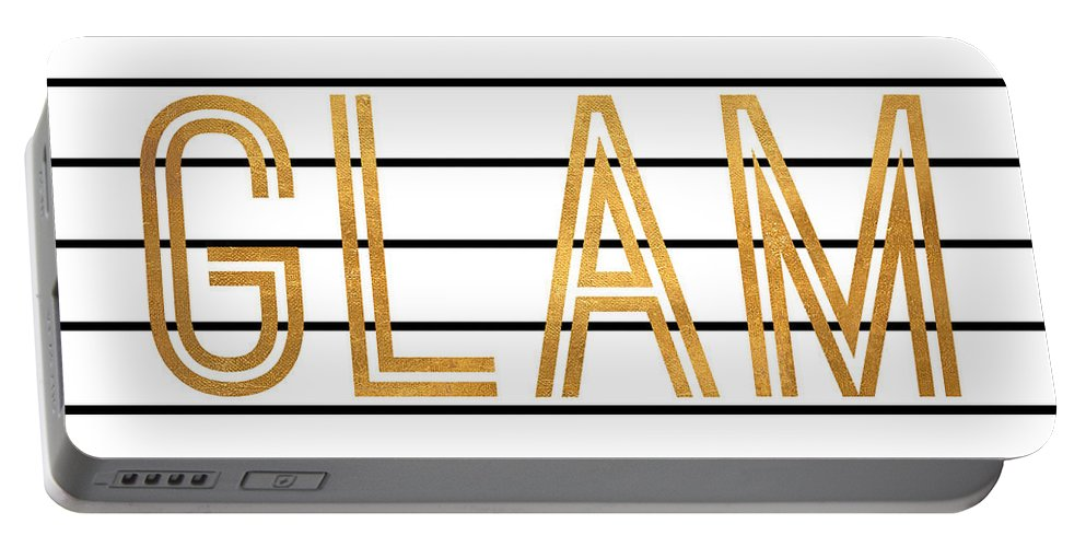 Glam Portable Battery Charger featuring the digital art Glam Pinstripe Gold by South Social Studio