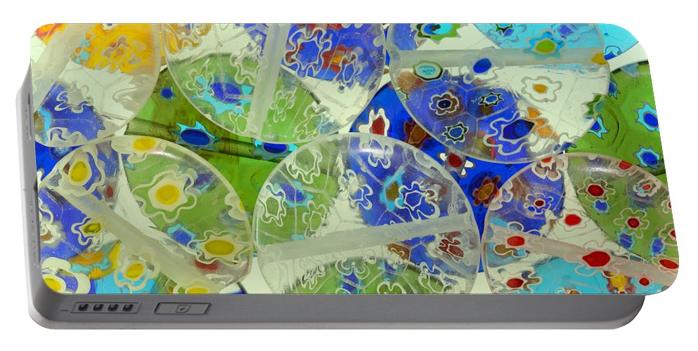 Abstract Portable Battery Charger featuring the photograph Glass Beads Abstract by Grigorios Moraitis