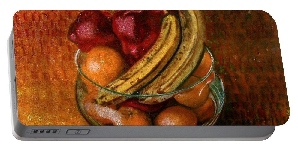 Still Life Portable Battery Charger featuring the painting Glass Bowl Of Fruit by Sean Connolly
