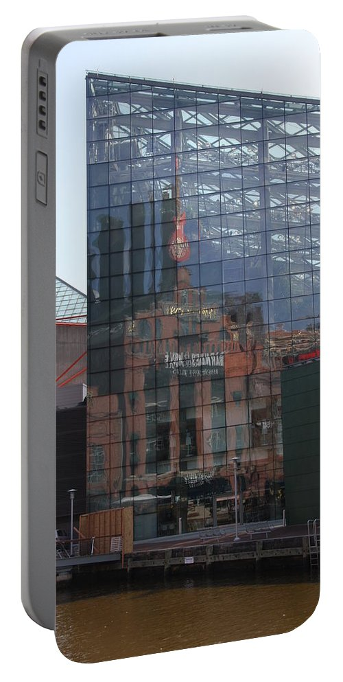 Glaas Facade Portable Battery Charger featuring the photograph Glass Facade Reflection - Aquarium Baltimore by Christiane Schulze Art And Photography