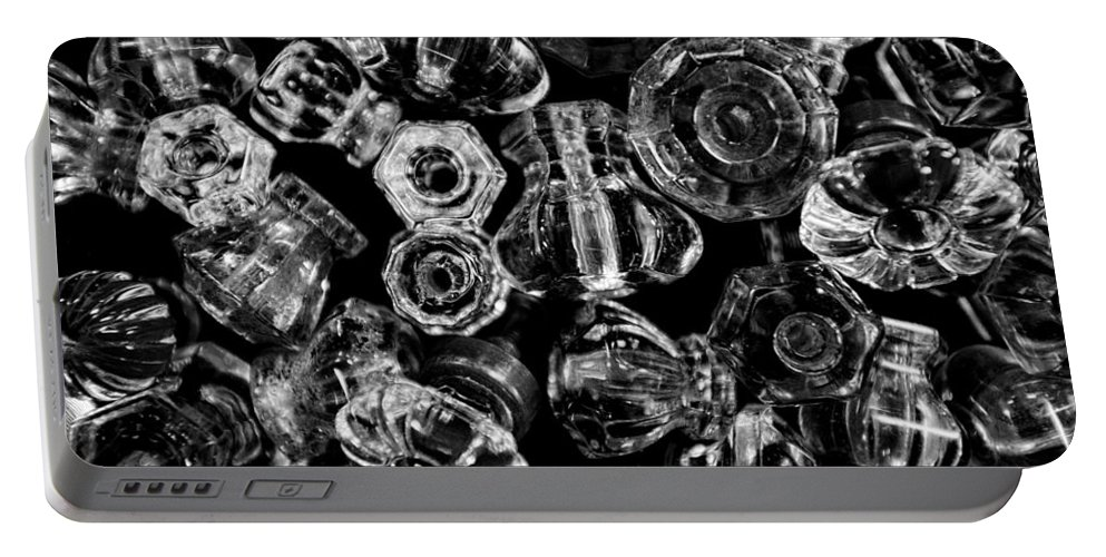 Christopher Holmes Photography Portable Battery Charger featuring the photograph Glass Knobs - Bw by Christopher Holmes