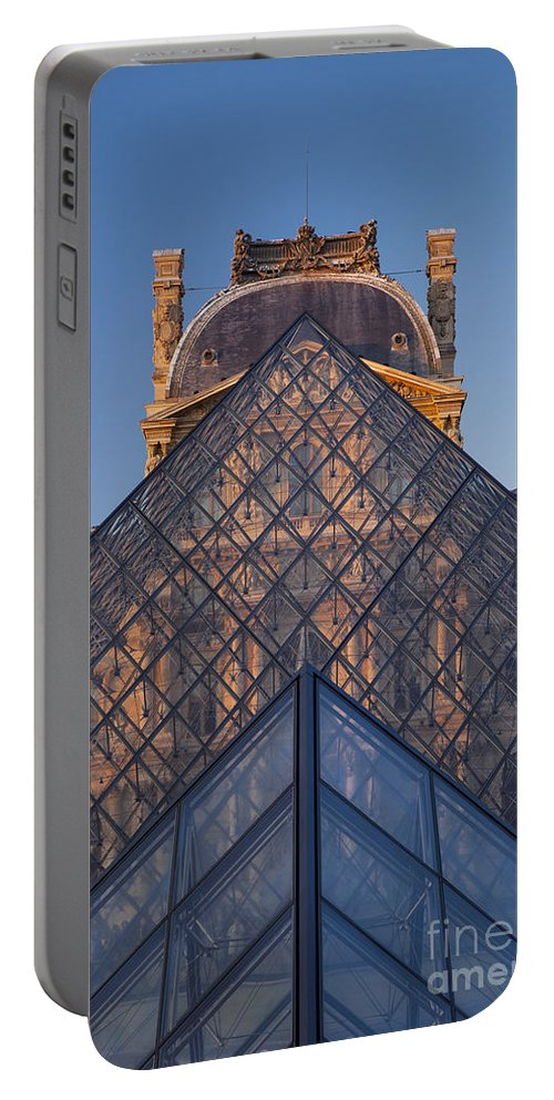 Architectural Portable Battery Charger featuring the photograph Glass Pyramid At Musee Du Louvre by Brian Jannsen