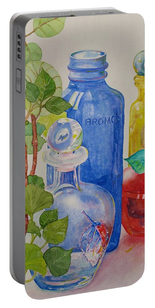 Glass Portable Battery Charger featuring the painting Glass Reunion by Mary Ellen Mueller Legault