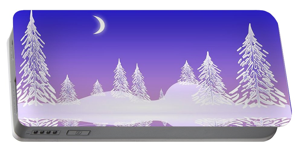Cool Portable Battery Charger featuring the digital art Glass Winter by Anastasiya Malakhova