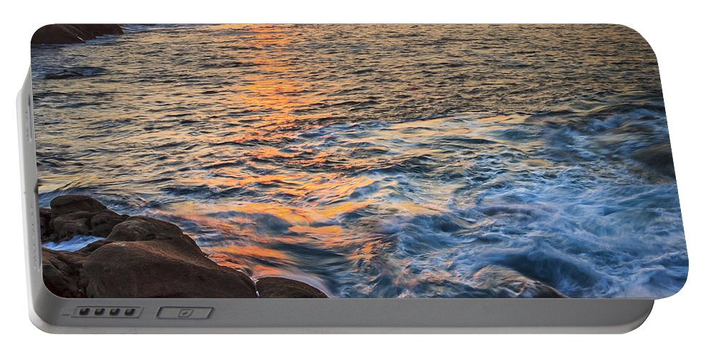 Sunset Portable Battery Charger featuring the photograph Gleaming Fire At Coitelada Galicia Spain by Pablo Avanzini
