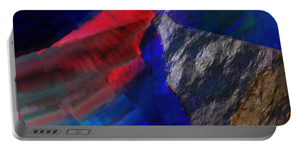 Liquefaction Portable Battery Charger featuring the digital art Glitchscape - Liquefaction by David Derr
