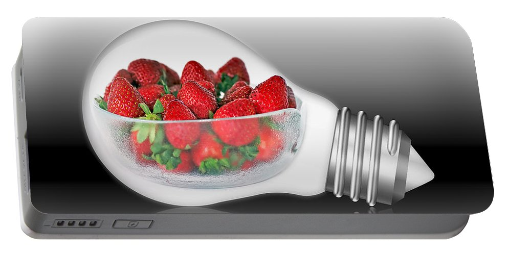 Photography Portable Battery Charger featuring the photograph Global Strawberries by Kaye Menner