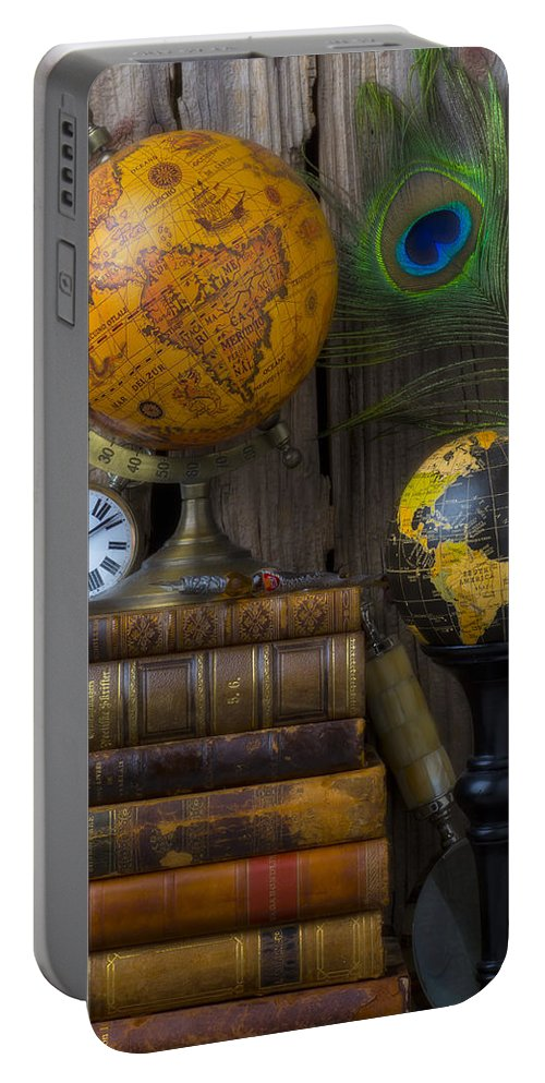 Globes Portable Battery Charger featuring the photograph Globes And Old Books by Garry Gay