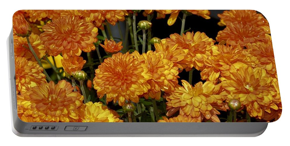 Glorious Golden Mums Portable Battery Charger featuring the photograph Glorious Golden Mums by Maria Urso