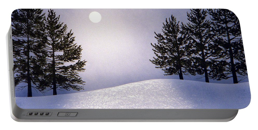 Mountains Portable Battery Charger featuring the painting Glorious Night by Frank Wilson