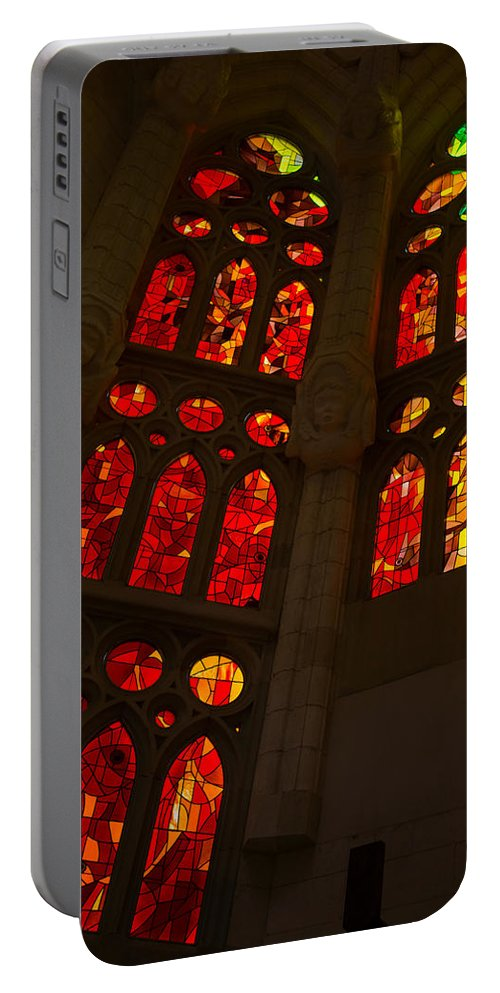 Glorious Portable Battery Charger featuring the photograph Glorious Reds And Yellows - Sagrada Familia Stained Glass Windows by Georgia Mizuleva
