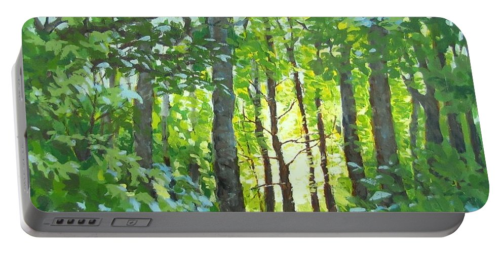 Landscape Portable Battery Charger featuring the painting Glow by Karen Ilari