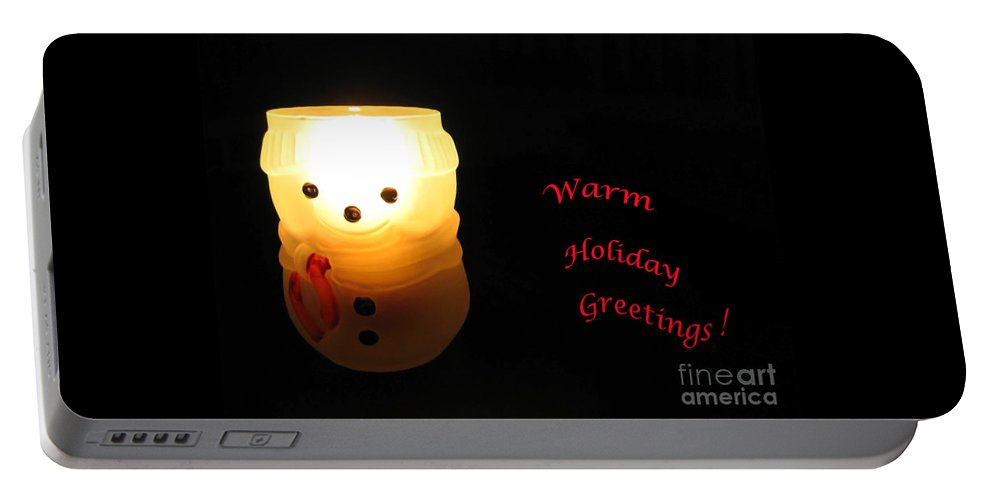 Snowman Portable Battery Charger featuring the photograph Glowing Snowman by Ann Horn