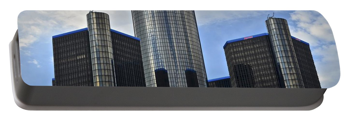 General Portable Battery Charger featuring the photograph Gm Building by Frozen in Time Fine Art Photography