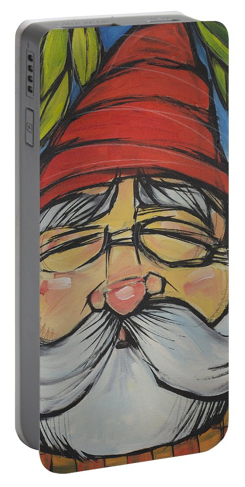 Gnome Portable Battery Charger featuring the painting Gnome 5 by Tim Nyberg