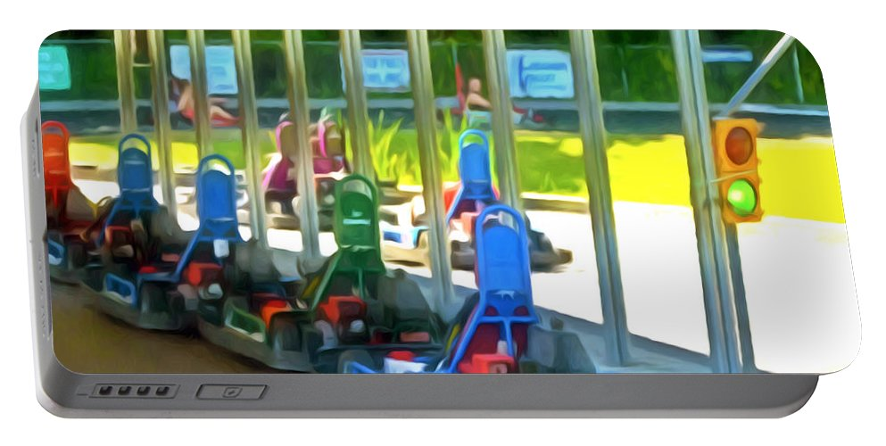 Go-karts Portable Battery Charger featuring the painting Go-karts by Jeelan Clark