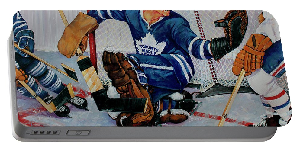 Hockey Portable Battery Charger featuring the painting Goaltender by Derrick Higgins