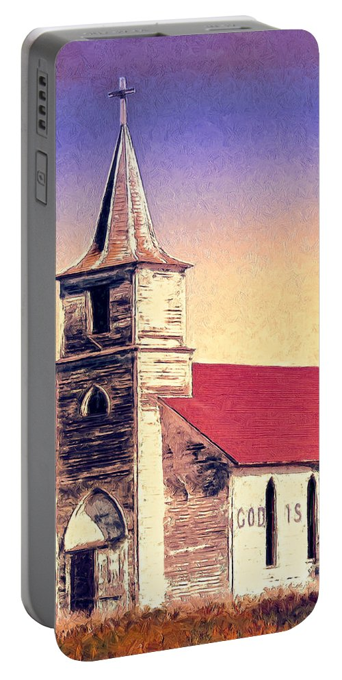 Church Portable Battery Charger featuring the painting God Is by Dominic Piperata