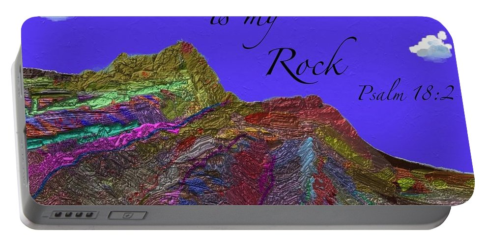 Rocks Portable Battery Charger featuring the painting God Is My Rock by Marie Clark