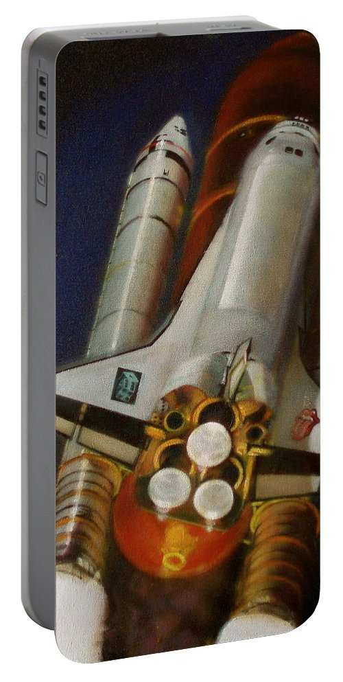 Space Shuttle;launch;liftoff;blastoff;rockets;engines;astronauts;spaceart;nasa;photorealism Portable Battery Charger featuring the painting God Plays Dice by Sean Connolly