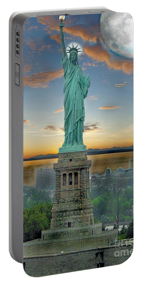 Statue Portable Battery Charger featuring the photograph Goddess Of Freedom by Gary Keesler