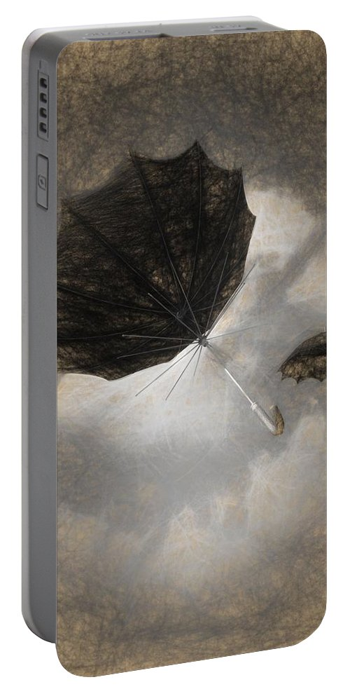 Umbrella Portable Battery Charger featuring the drawing Going Down by Bob Orsillo