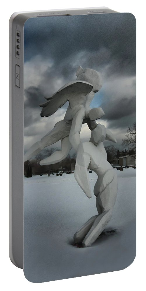 Sculpture Portable Battery Charger featuring the photograph Going Home 4120 by Guy Whiteley