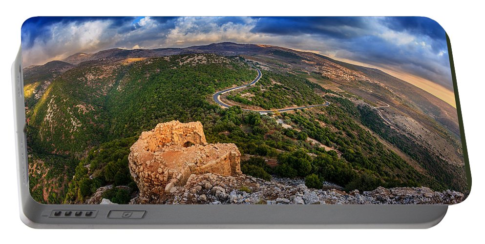 Castle Portable Battery Charger featuring the photograph Golan Heights by Alexey Stiop