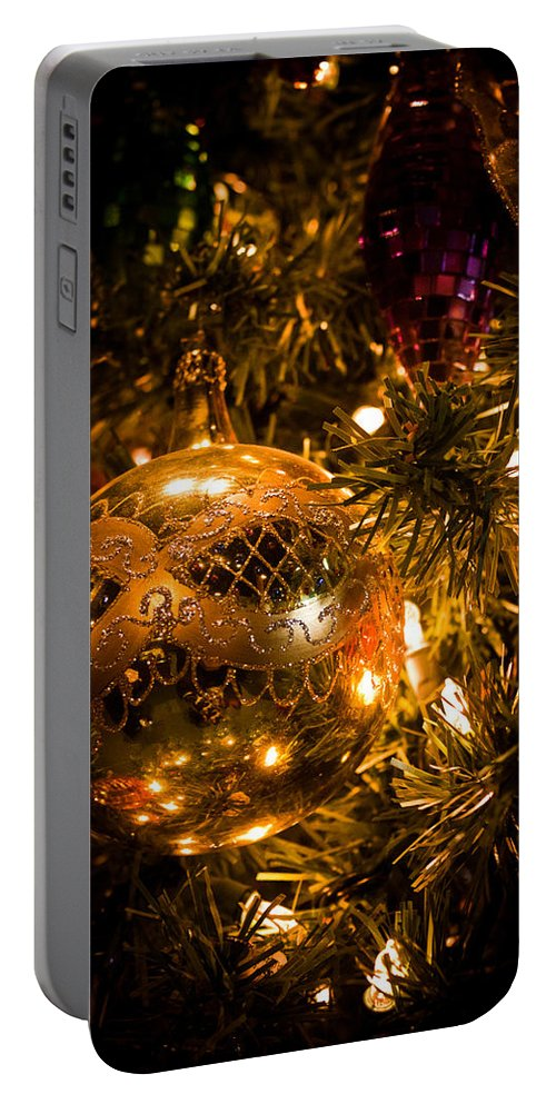 Purple Portable Battery Charger featuring the photograph Gold Christmas Ornament by Joann Copeland-Paul