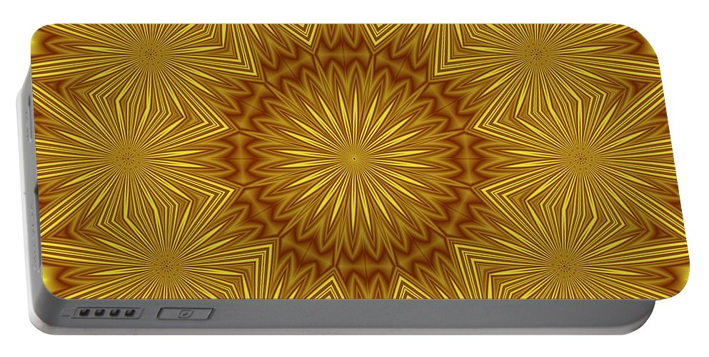Pattern Portable Battery Charger featuring the digital art Gold Flowers by Lena Photo Art
