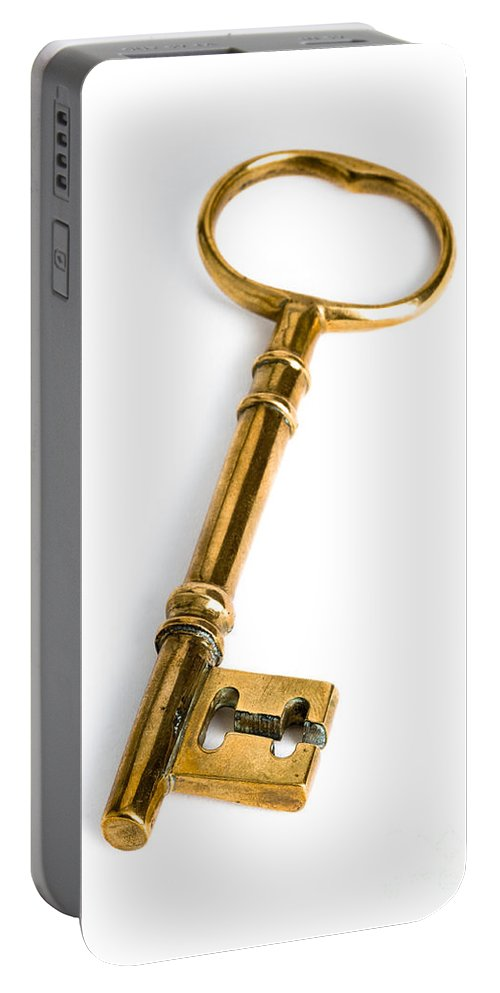 Key Portable Battery Charger featuring the photograph Gold Key by Lee Avison