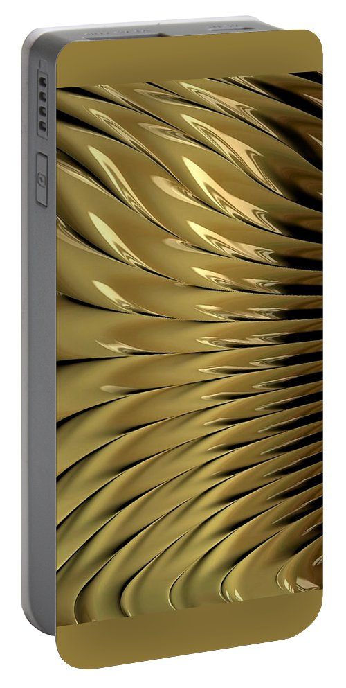 fractal Art abstract Art gold Art gold Design girl's Fashion women's Fashion Makeup Portable Battery Charger featuring the photograph Gold Ridges by Bill Owen
