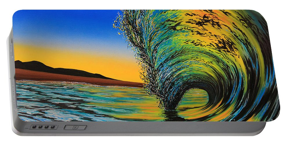 Surf Portable Battery Charger featuring the painting Gold Rush by Marty Calabrese