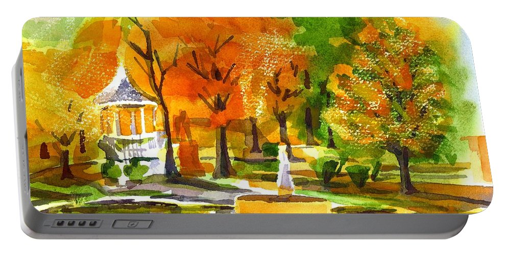Golden Autumn Day 2 Portable Battery Charger featuring the painting Golden Autumn Day 2 by Kip DeVore