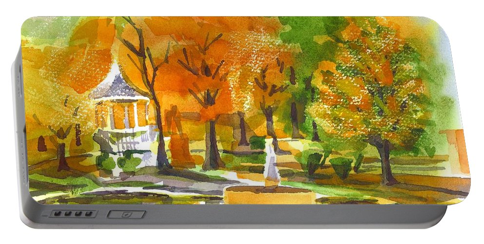 Golden Autumn Day Portable Battery Charger featuring the painting Golden Autumn Day by Kip DeVore