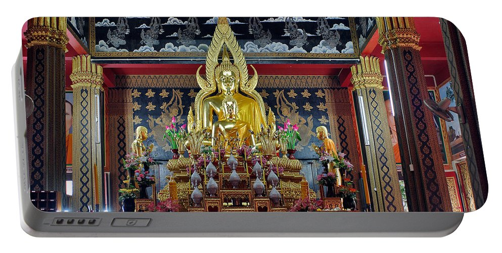 3scape Portable Battery Charger featuring the photograph Golden Buddha by Adam Romanowicz