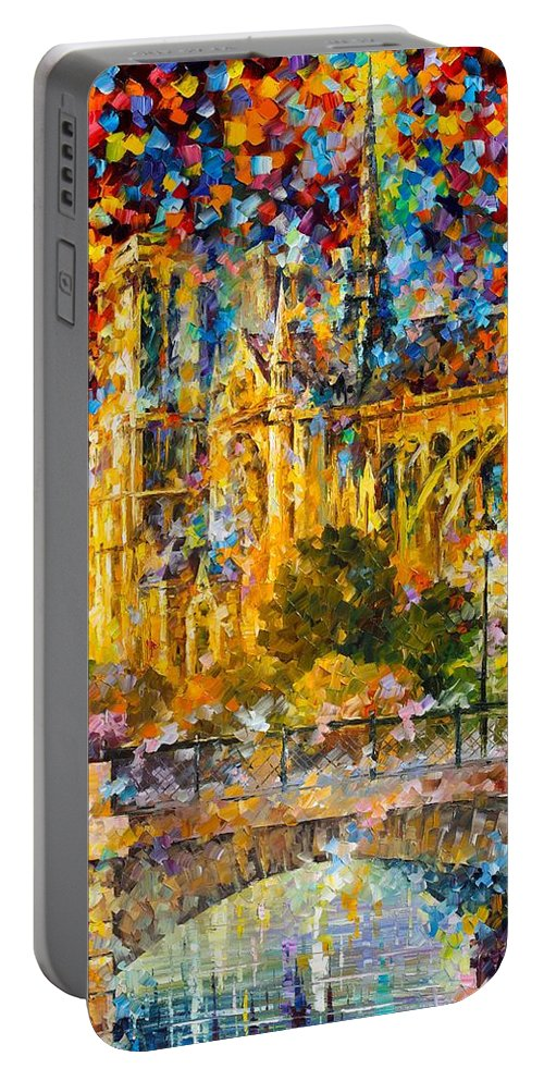 Afremov Painting Palette Knife Art Handmade Surreal Abstract Oil Landscape Original Realism Unique Special Life Color Beauty Admiring Light Reflection Piece Renown Authenticity Smooth Certificate Colorful Beauty Perspective Stroll Golden Castle Portable Battery Charger featuring the painting Golden Castle by Leonid Afremov