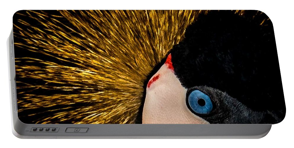 African Crowned Cranes Portable Battery Charger featuring the digital art Golden Crown by Ernie Echols