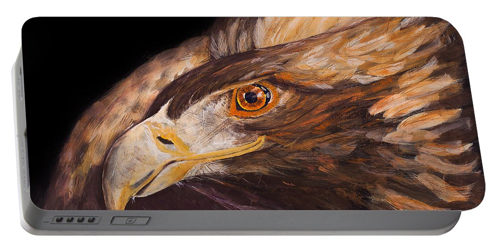 Eagle Portable Battery Charger featuring the painting Golden Eagle Close Up Painting By Carolyn Bennett by Simon Bratt Photography LRPS