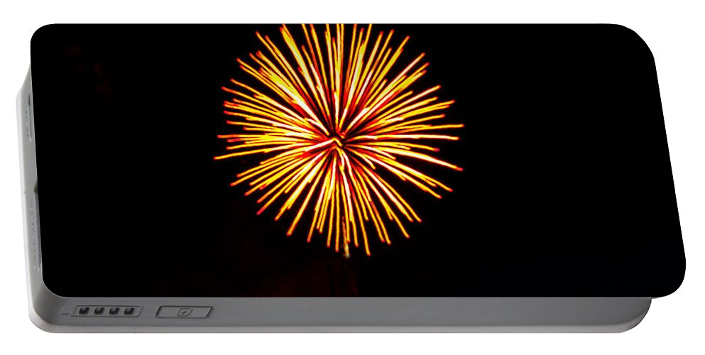 Fireworks Portable Battery Charger featuring the photograph Golden Fireworks Flower by Robert Bales