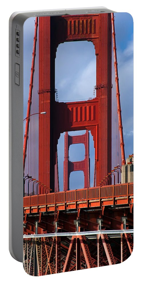 3scape Portable Battery Charger featuring the photograph Golden Gate Bridge by Adam Romanowicz
