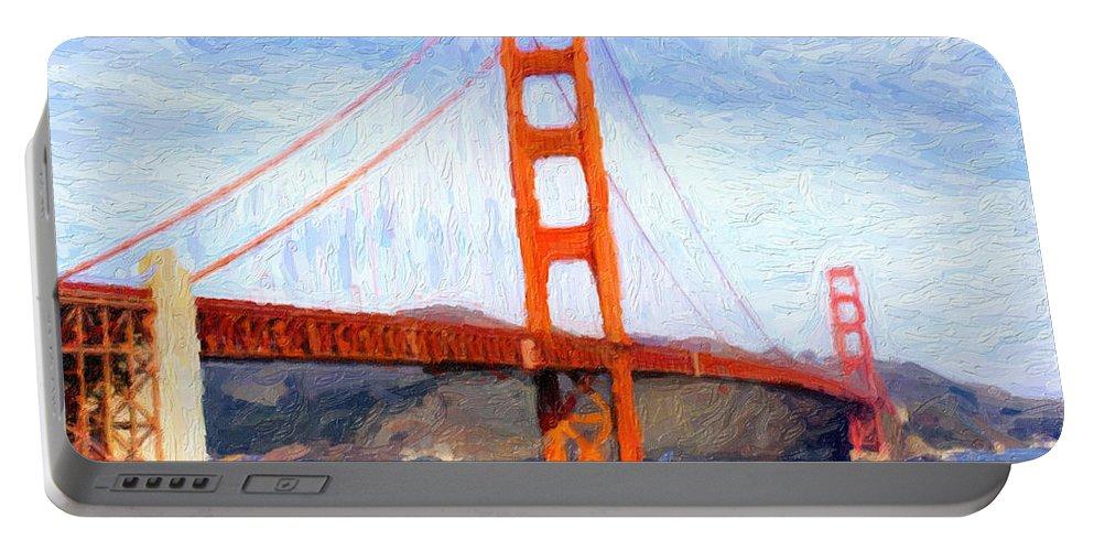 Golden Gate Bridge Portable Battery Charger featuring the digital art Golden Gate Bridge by Gravityx9 Designs