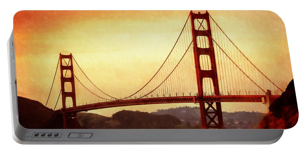 San Francisco Portable Battery Charger featuring the painting Golden Gate Bridge San Francisco California by Fine Art