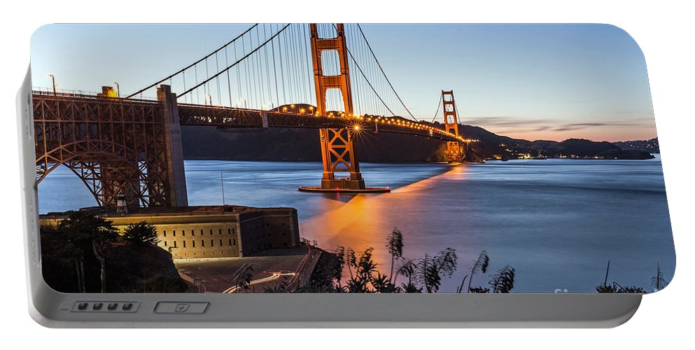 Golden Gate Bridge Portable Battery Charger featuring the photograph Golden Gate Night by Kate Brown