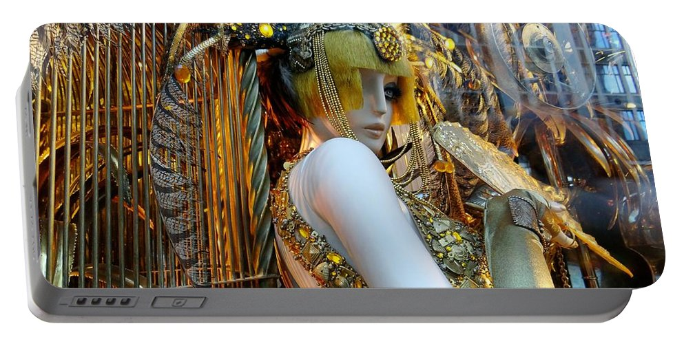 Mannequin Portable Battery Charger featuring the photograph Golden Girl by Ed Weidman