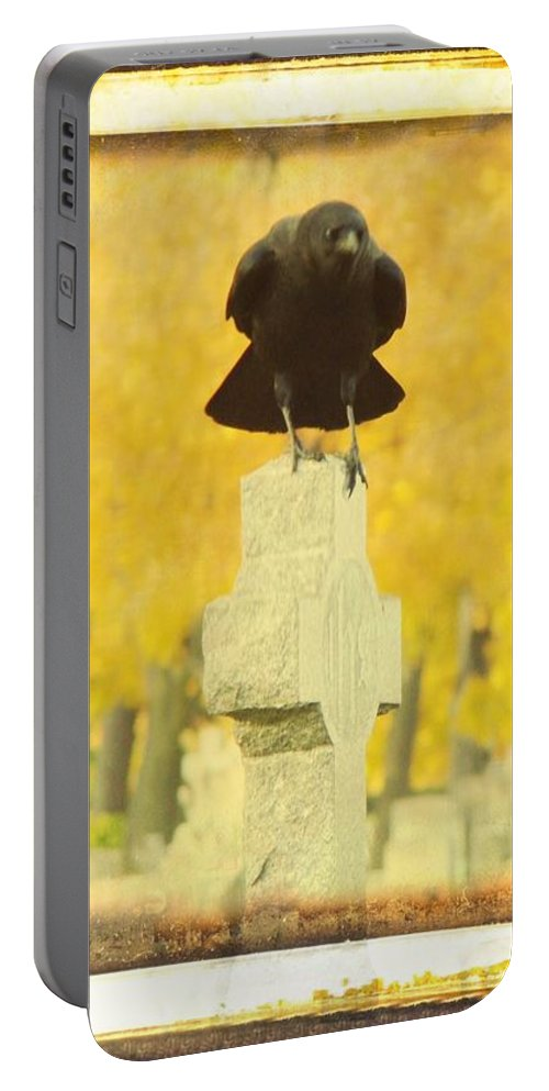 Golden Fall Graveyard Trees Portable Battery Charger featuring the photograph Golden Gothic by Gothicrow Images